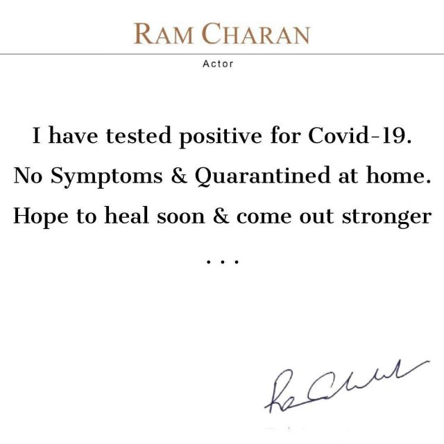 Ramcharan tested positive for Corona 2
